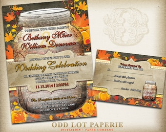 Rustic Fall Mason Jar Wedding Invitation RSVP and Placecard DIY Invitation Printable Rustic Wood Fall Leaves pumpkins country wedding