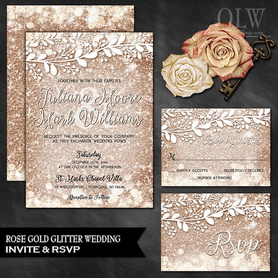 Rose Gold Wedding Invite And Rsvp Card Rose Gold Wedding Set Etsy