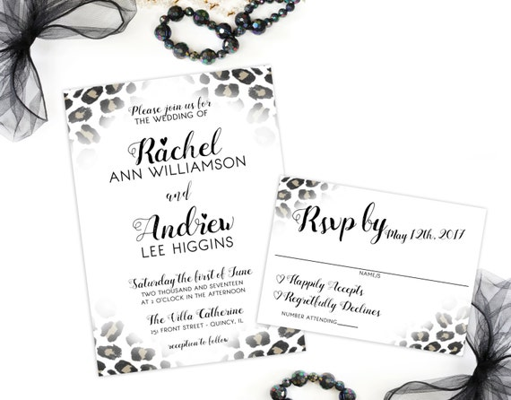 leopard print wedding invitation and rsvp card animal print etsy