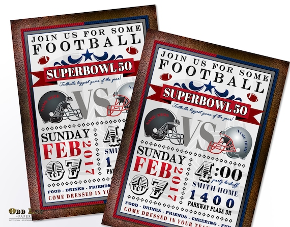 Superbowl Party Invitation Superbowl 50 Football Party Invite