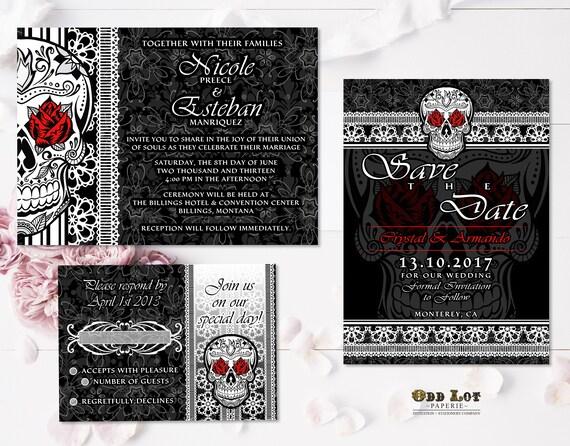 Sugar Skull Wedding Invitation Set Gothic Wedding Day of the Dead ...