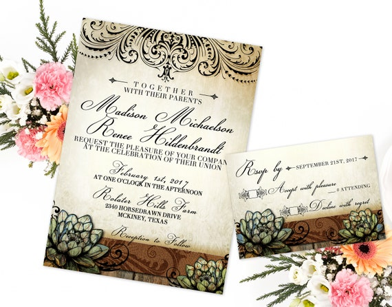 Rustic Succulent Wedding Invitation And Rsvp Succulent Wedding