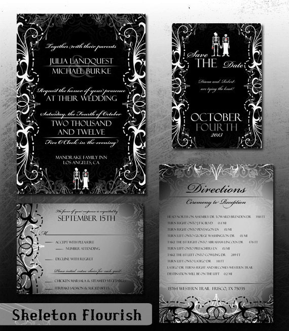 RSVP Skeleton and Butterflies Gothic Halloween Wedding Invitation Save the Date and Thank You Digital File Kit Printable