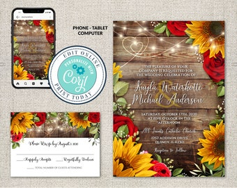 Wedding Invitation and RSVP Template, Rustic Wood with Sunflowers & Roses Invitation Suite, Editable Printable File,Instant Download, Corjl