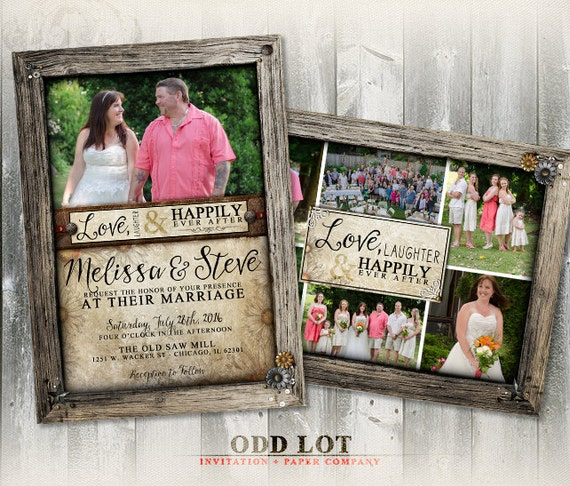 rustic wood frame wedding photo card collage invitation rustic