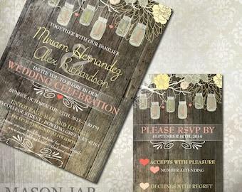 Rustic Mason Jar Wedding Invitation & RSVP - Digital or Printed - Mason Jar Rustic Wedding Stationery