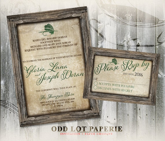 graphic about Printable Rustic Wedding Invitations identified as Rustic Fishing Printable marriage ceremony invitation and RSVP