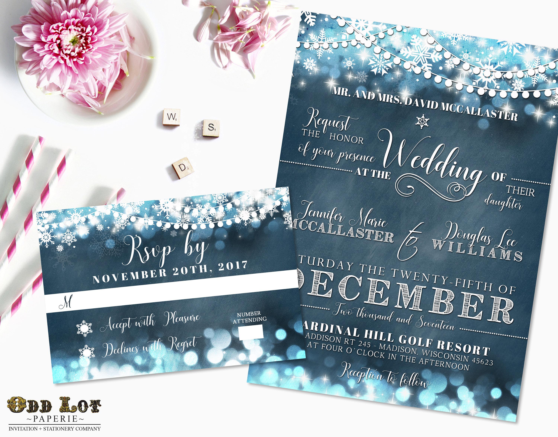 Winter Wedding Invitation Wording: Snowflake Wedding Invitation Set Winter Wedding