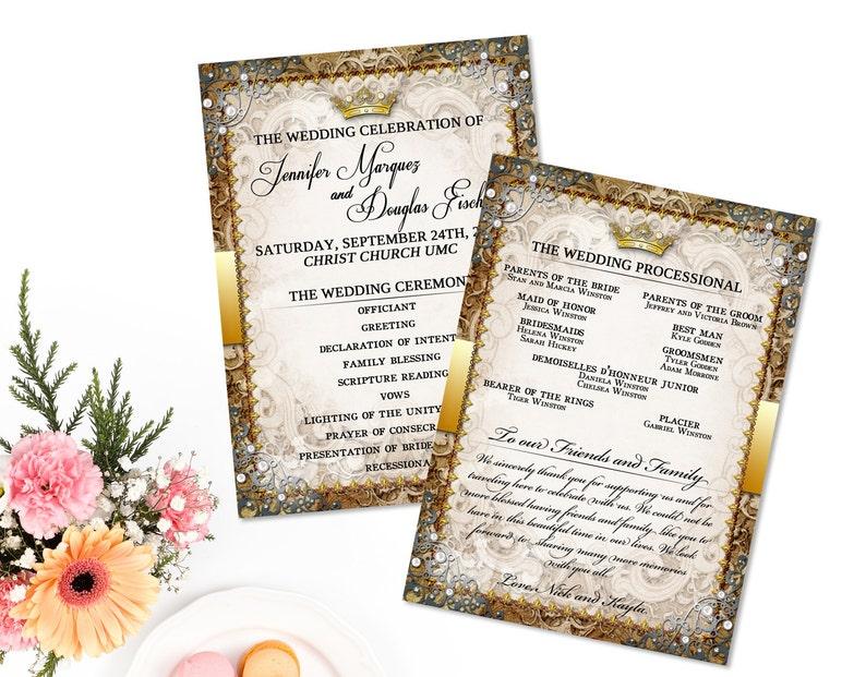 Vintage Fairytale Program Faity Tale Wedding Program Princess Wedding Royal Wedding Program Gold Wedding Ornate Wedding Program