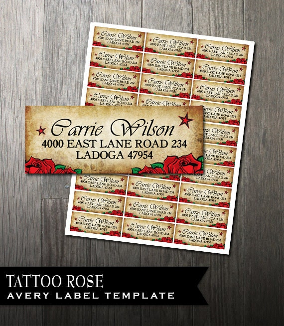 photograph regarding Printable Address Labels Wedding identified as Tattoo Rose Go over Labels Do-it-yourself Avery Labels for printing