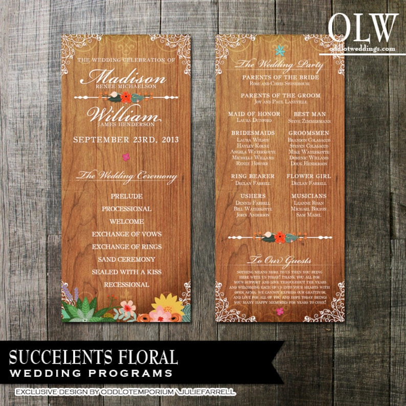 Rustic Wedding Programs  digital printable files  Floral Succulents on a wood background with flourishes