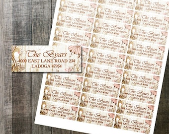 Shabby Chic Floral Address Label DIY Avery Digital Labels for Printing Yourself Rustic Wedding Printable Address Labels Digital File