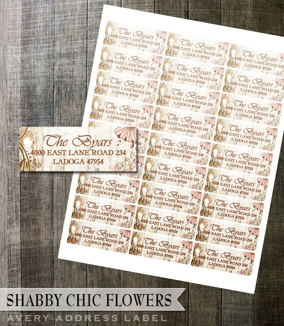 picture relating to Printable Address Labels Wedding known as Shabby Stylish Floral Go over Label Do-it-yourself Avery Electronic Labels