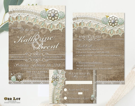 Burlap And Lace Wedding Invitations Rsvp Cards And Insert