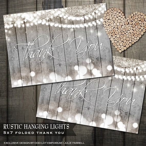 Rustic Wedding Thank You Card Hanging Lights Country Chic Fall