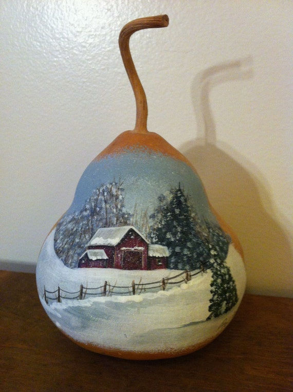 American Express Card >> Items similar to Hand Painted Wintery Barn Scene Gourd on Etsy