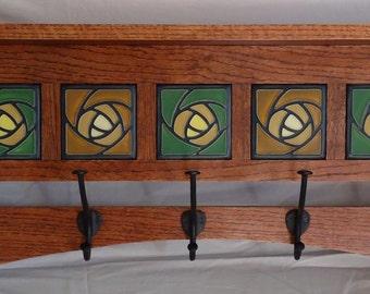 Handmade Mission style oak coat rack with Art tile