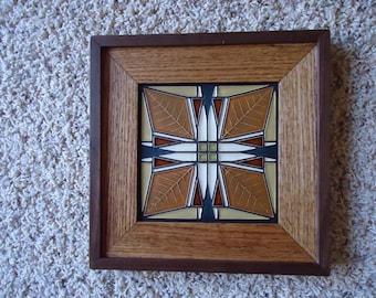 "Double framed 6"" X 6"" Motawi tile of Frank Lloyd Wright's Frank Thomas House"