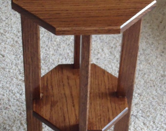Handmade Mission Style Octagonal Oak Plant Stand