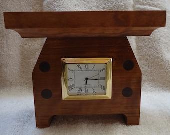 Cherry or oak and walnut mission desk clock