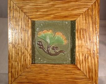 Framed Craftsman Gingko tile
