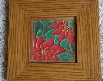 """Framed 5"""" X 5"""" Ephraim Pottery tile titled """"Poinsettia"""""""