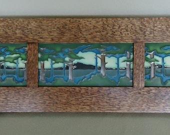 """Framed three signed Motawi Tile """"Pine Landscape"""""""
