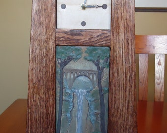 """Mission clock with 4"""" X 8"""" art tile."""