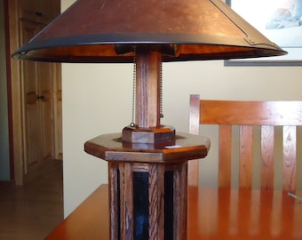 Handmade Mission Style Oak Lamp with Art Glass Night Light and Mica Shade