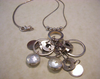 Coin Pearls Silver Necklace RePurposed ReCycled UpCycled