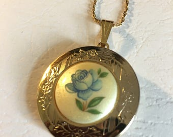 Vintage Hand Painted Blue Rose Pendant with Chain