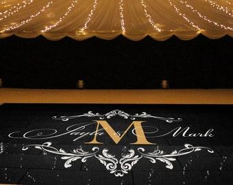 Wedding Dance Floor Decal, Wedding Floor Monogram, Vinyl Floor Decals, Wedding Decor -  DFD0012