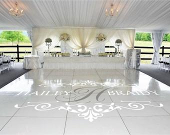Wedding Dance Floor Decal, Bride Groom Names & Initial, Wedding Floor Monogram, Vinyl Floor Decals, Wedding Decor -  DFD0013