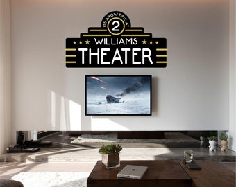 Home Theater Decor, Home Theater, Movie Theater Decor, Home Theater Decor,  Personalized Theater Decal   WD0209