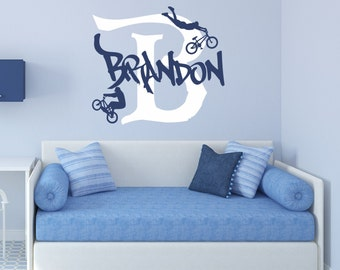Bicycle Wall Decal Bicycle Wall Art Bicycle Name Decal BMX Wall Decal Personalized Boys Bicycle Decal BMX Bike Wall Decal - WD0038  sc 1 st  Etsy & Bike wall decal | Etsy