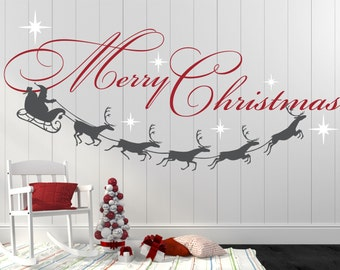 merry christmas decal reindeer and stars christmas decor christmas wall decal christmas decoration santa wall decal xmd001 - Christmas Wall Decal
