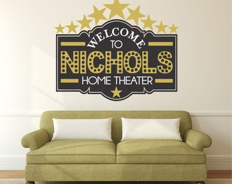 Home Theater Decor, Home Theater Sign, Movie Theater Decor, Home Theater Decor, Personalized Theater Decal KAL - WD0197