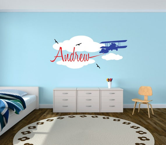 airplane with banner wall decal personalized airplane | etsy