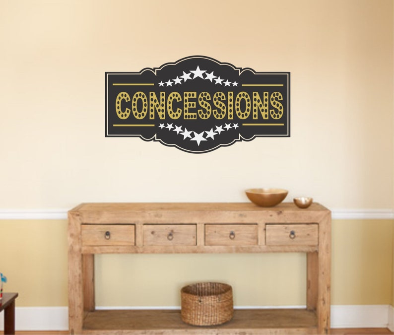 Home Theater Concessions Wall Decal Popcorn Wall Decal Snack Etsy