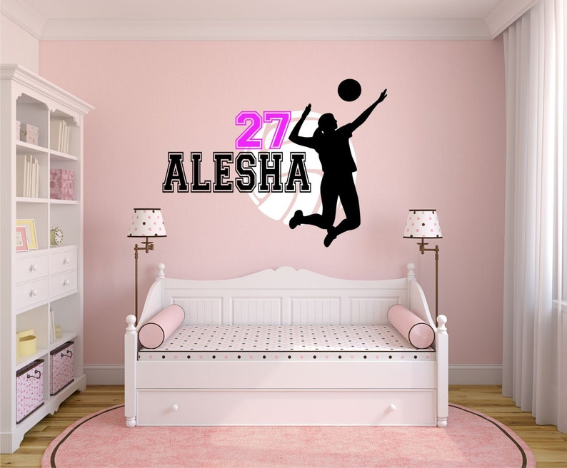 Personalized Name Volleyball Volleyball Team Player Decal WD0068 Volleyball Decor Volleyball Nursery Volleyball Wall Decal
