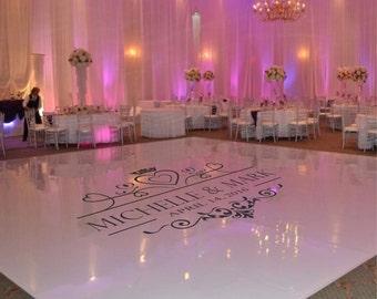Wedding Dance Floor Decal, Wedding Floor Monogram, Vinyl Floor Decals, Wedding Decor