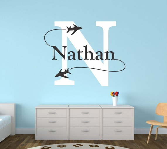 & Airplane Wall Decal Personalized Airplane Nursery Airplane