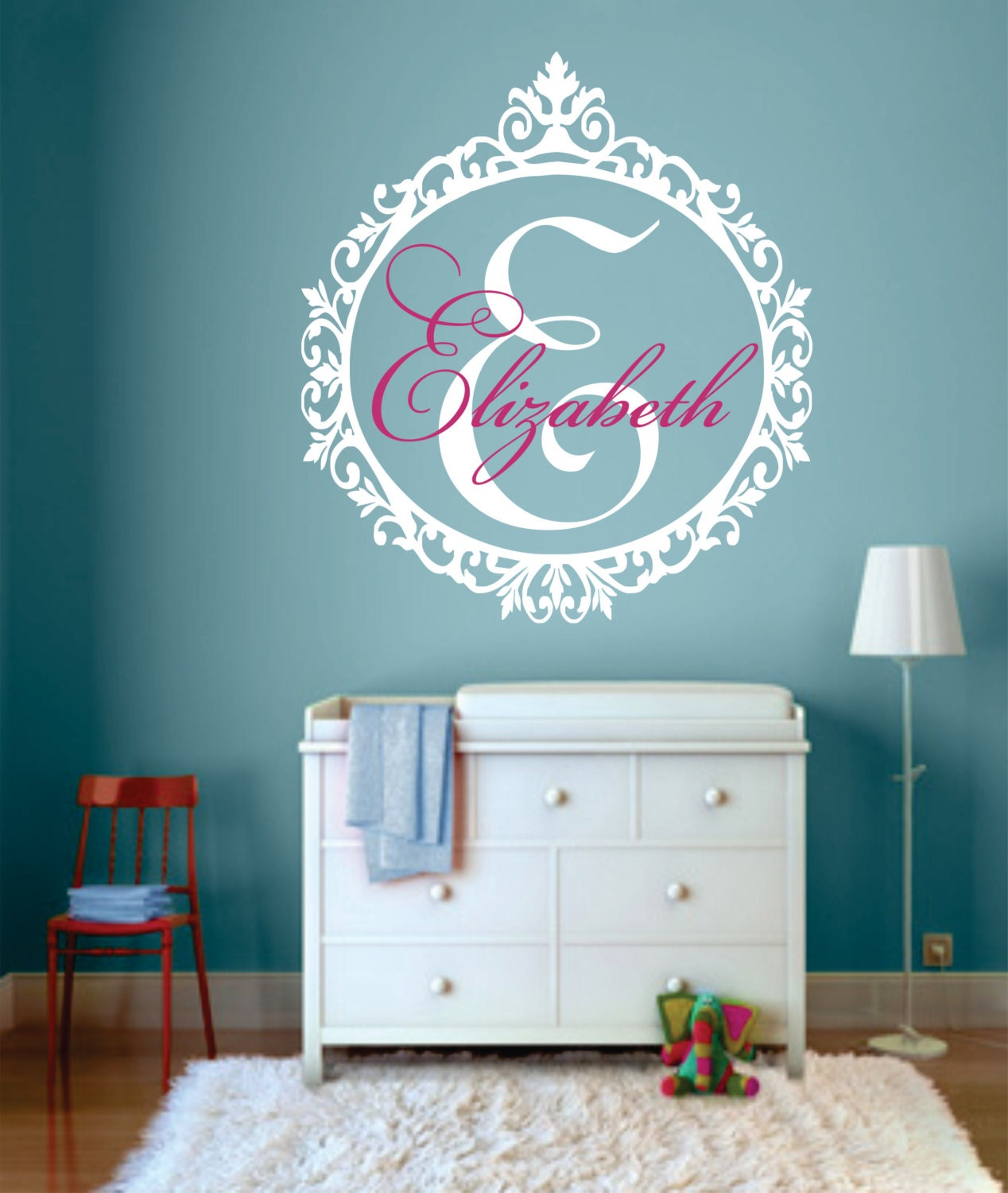 Initial Wall Decor: Personalized Name Wall Decal Monogram Wall Decal Shabby