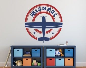 Airplane Name Decal,Personalized Airplane Nursery Name Decal, Airplane Decor, Airplane Nursery, Plane Decal KAL - WD0189