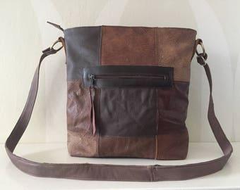 Patchwork Leather Shoulderbag VanStoel#231 BROWN