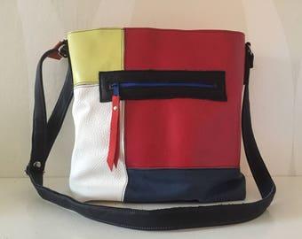 Patchwork Leather Shoulderbag VanStoel#236 RED WHITE BLUE