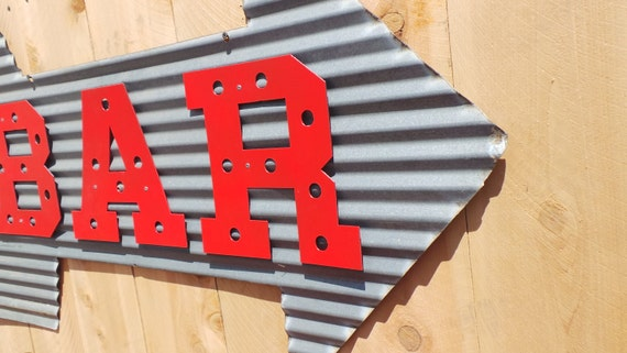 Metal Corrugated Bar with Arrow Sign Wall Hanging//Drinking//Patio//BBQ