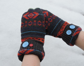 upcycled mitten with reuse sweater