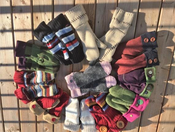Upcycling Handschuh mit Wiederverwendung Pullover Wolle oder Fleece oder samt Handschuh fallen Frühling für Frauen und Teenager Mädchen Null Abfall
