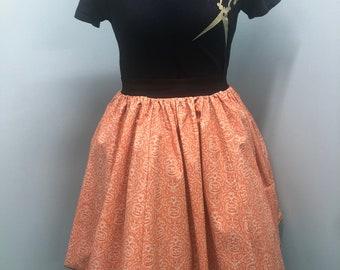 Halloween Pumpkin Jack-o-Lantern Spider Damask Skirt